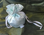White Pinstriped Satin Reticule Pouch With Tassel