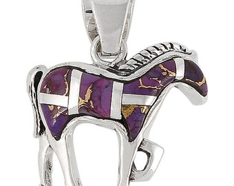 Sterling Silver Horse Pendant - Purple Turquoise - 25% off!