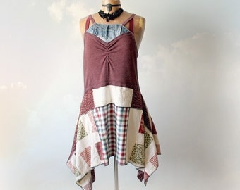 Country Shabby Dress Patchwork Clothing Lagenlook Style Womens Boho Dress Eco Friendly Clothes Upcycled Frock Drape Layer Dress L 'MEREDITH'