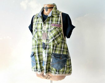 Plus Size Shirt Women's Funky Vest Rustic Plaid Tunic Art To Wear Sporty Clothing Denim Pockets Country Chic Tank Loose Fit Top 1X 'ZAHARA'