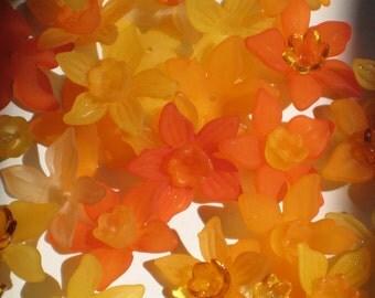 12 Daffodil Acrylic Flower Beads Orange Mix and Match