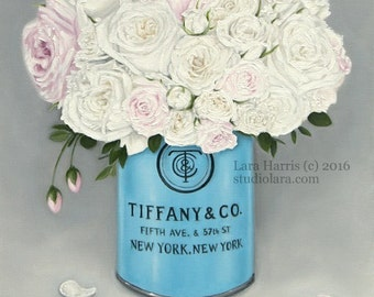 NEW Series...New York State Floral 11x14 Fine Art Giclee Print by LARA Tiffany and Co Roses
