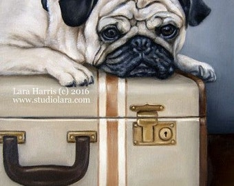 11x14 Don't Forget My Pug...A Place to Bark - Fine Art Giclee Print by LARA