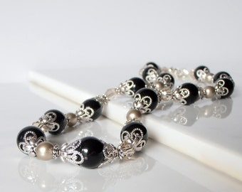 Black and Champagne Swarovski Pearl and Crystal Bridesmaid Necklaces Special Occasion Jewelry  Mother of the Bride Gifts Weddings Jewelry