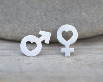 Mars & Venus Earring Studs In Sterling Silver With Heart Shape, Handmade In England