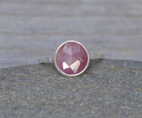 rose cut sapphire ring, over 2ct pink sapphire ring, September gift, handmade in the UK