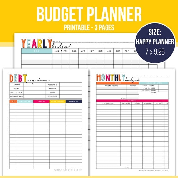 Happy Planner Budget Planner, Financial planner, Bill planner, Cash ...