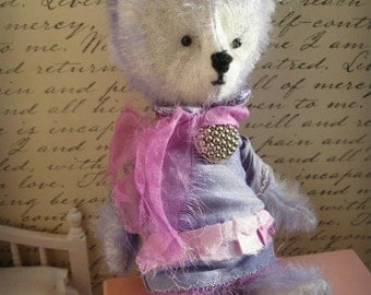 "OOAK Collectible Miniature Artist Mohair Bear - ""Flomena"" - 5-6"" -  Shabby Periwinkle Blue German Mohair"