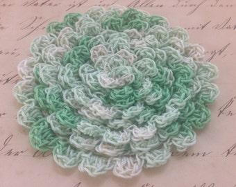 Marley Hand Crocheted Scalloped Edging, Variegated Greens Crocheted Trim, Handmade Edging