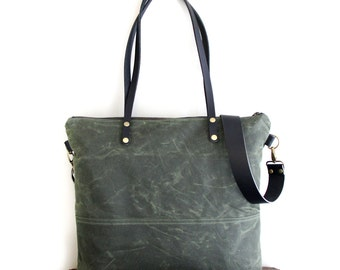 Waxed Canvas Tote in Olive Green with Black Leather Handles