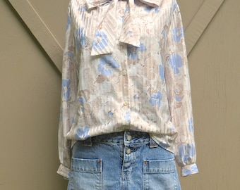 80s vintage Cedar Hill Floral Watercolor Sketch Periwinkle Blue and Sepia Brown Secretary Blouse