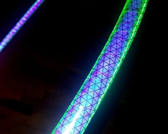"""NeW! - Color Changing 'NiteBrite' REFLECTIVE Hoop """"Siren!""""  //  Polypro OR 1/2"""" Advanced.  Free Grip Option."""