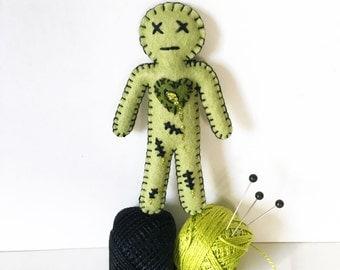 Mini Zombie Doll Voodoo Doll - Halloween Walking dead zombie fern green - as Seen in Stuffed Magazine - hand sewn - OOAK