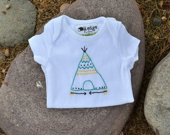 Teepee Baby Bodysuit Baby Tribal Hand Embroidered Camping