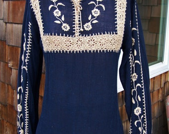Embroidered Dress, Crochet Lace dress, Boho Blue dress, Navy Blue dress, long sleeve dress, size L