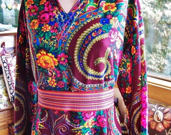 Plus size Caftan, Embroidered Caftan, Gypsy Caftan, Maroon Caftan, Long sleeve Caftan, 2X