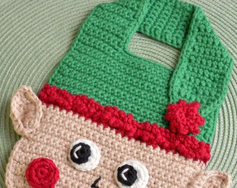 Crochet pattern Elf Baby Bib Drool Bib Spit Bib Burp Bib Food Bib for Christmas babies and toddlers holiday shower gift INSTANT pdf DOWNLOAD