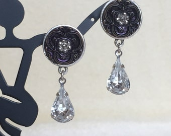 Purple Vintage Button with Crystal Navette Earrings