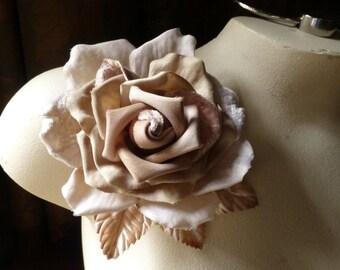 Mocha Velvet Rose Flower for Bridal, Sashes, Corsages, Pins, Costume Design MF 502 -7398
