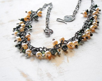 Pearl Cluster Necklace in Peach and Green, Copper Wire Jewelry, Cascade Necklace, Hand Forged Artisan Jewellery, Boho Necklace