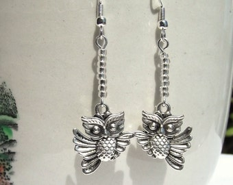 Flying Owl and Icy Clear Crystal Charm Earrings