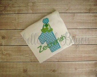 Personalized Appliqued Birthday Number with Party Hat T-shirt for Boys or Girls