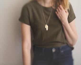 Gold Leaf Necklace. Hand Cut Brass. Black Silver. Vacation. Tropics. Resort. Modern. Minimal. Golden Brass. Gold Leaf Necklace. Palm Leaf.