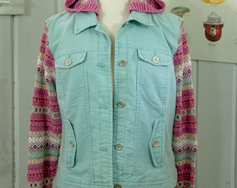Fair Isle Pastel UPCYCLED Hoodie Jacket, Size Large
