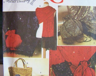 CLEARANCE Simplicity 9069 Sewing Pattern - Bags and Shawls, Evening Bag, Formal Purse, Wrap, Tote, Bridal Accessories, Fringed Shawl