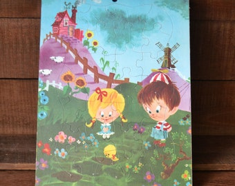 Vintage Childs Frame Tray Puzzle Children with Chick Sheep House on Hill Oversized