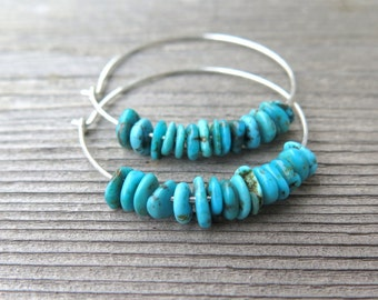 natural turquoise earrings. sterling silver hoops. turquoise jewelry.