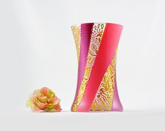 Hand painted glass vase - Pink and gold