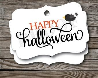 12 Happy Halloween Tags, Halloween Tags, Halloween Favor Tags