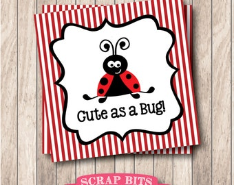 Instant Download Cute as a Bug Ladybug Tags . Printable Ladybug Favor Tags