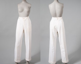Vintage 1920s Mens White Pants, Gatsby White Linen Cuffed Trousers, 5 Front Bone Buttons, 20s Palm Beach, Unisex Adult Clothing, Pants
