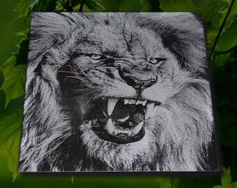 "My ""Lion"" - 12x12 Laser Engraved in Black Granite"