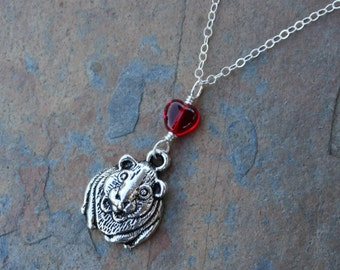Guinea Pig & heart necklace - antiqued silver pet charm, red heart, sterling silver chain -Free Shipping USA - other color hearts available