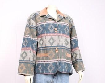 vintage Woolrich southwestern wool + buckskin leather boyfriend blazer jacket coat size large native american indian blanket