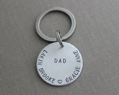 Dad keychain, custom kids names, aluminum Hand Stamped Keychain, circle disc silver tone, Children's Names Customized - stocking stuffer