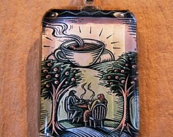 30% OFF Coffee Lover Friendship Medium Rectangle Glass Pendant
