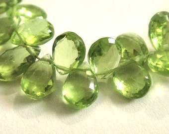 PERIDOT Briolettes, Faceted Pear Brios, Brides -1 MATCHED PAIRS,  August Birthstone,  Wholesale Beads,  8-9mm, 2pc