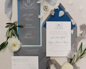 Antler Monogram Wedding Invitation