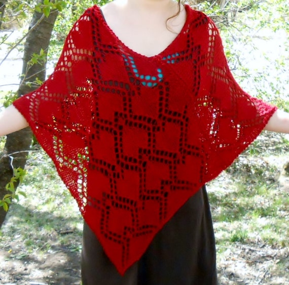 knit poncho pattern, majestic queen of hearts lace poncho pattern PDF file, valentine heart knit pattern