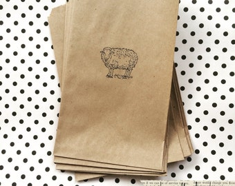 Sheep Gift Bags - 10 sheep kraft bags, 5x7 gift bags - Party Sacks - Farmhouse party supplies - Primitive Rustic - Kraft party bag - Kraft