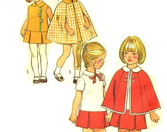 Child Size 2 Pleated Drop Waist Dress and Cape Vintage 1970s Simplicity 5480 Cut Sewing Pattern Size Toddler Child Peter Pan Collar