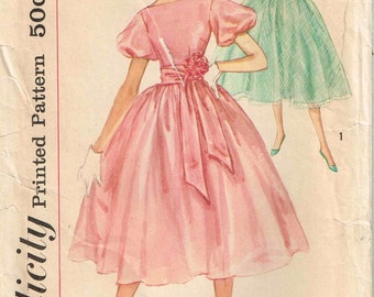 Full Skirt Bouffant Party Dress Sash Cummerbund Vintage 1950s Simplicity 2314 Sewing Pattern Size 10 Bust 30