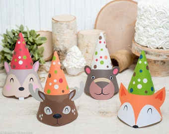 woodland animals Party Hat kit Fox party hat, Deer party hat, squirrel/chipmunk hat, and Brown Bear hat with ears and antlers that pop out
