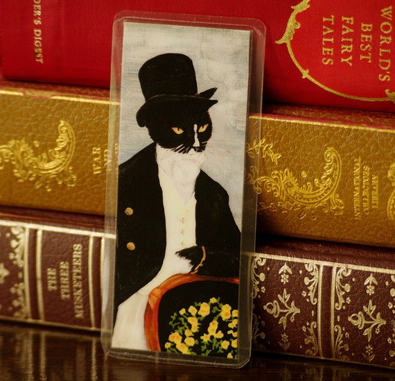 Mr Darcy Cat Bookmark, Pride and Prejudice Laminated Paper Bookmark