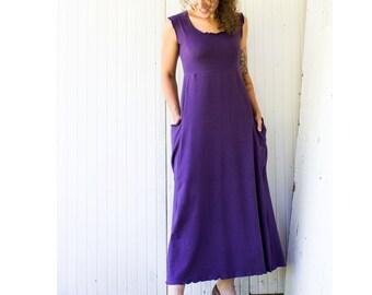 Passport Pocket Maxi Tank Dress - Organic Fabric - Made to Order - Choose Your Color