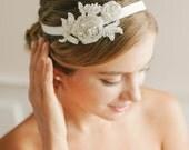 Wedding headband, beaded lace headband, bridal headband, wedding headpiece - style #243